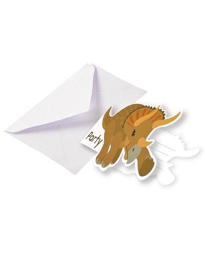 Magicoo 8 uitnodigingskaarten met enveloppen Dinos Party