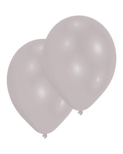 Magicoo 10 latex ballonnen parelmoer zilver 27,5 cm / 11 ''