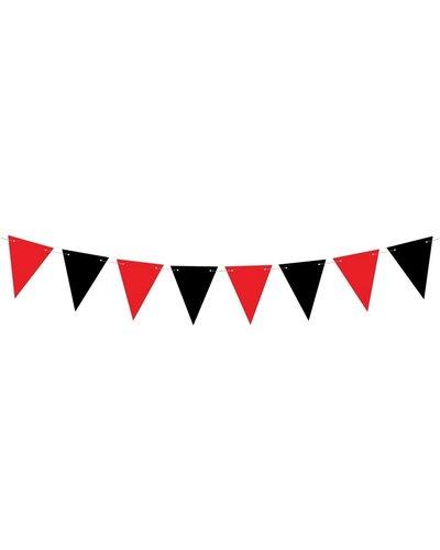 Magicoo Pennant slinger zwart-rood voor piratenfeest
