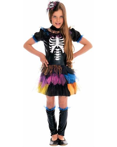 Magicoo Kleurrijke skelet kostuum voor meisjes