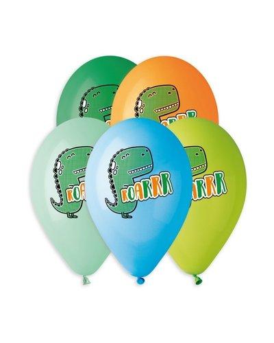 "Magicoo Kleurrijke latex ballonnen Dino's ""Roarr"" - 5 stuks"