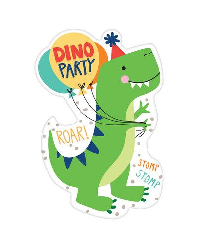 Magicoo 8 Dino uitnodigingskaarten met enveloppen