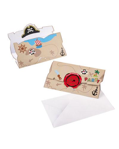 Magicoo 8 Piraat uitnodigingskaarten en enveloppen