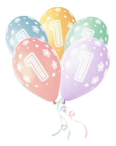 Magicoo 5 kleurrijke latex ballonnen 1e verjaardag