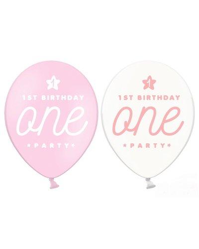 "Magicoo 6 latex ballonnen ""ONE"" wit-roze"
