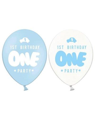 "Magicoo 6 latex ballonnen ""ONE"" wit-blauw"