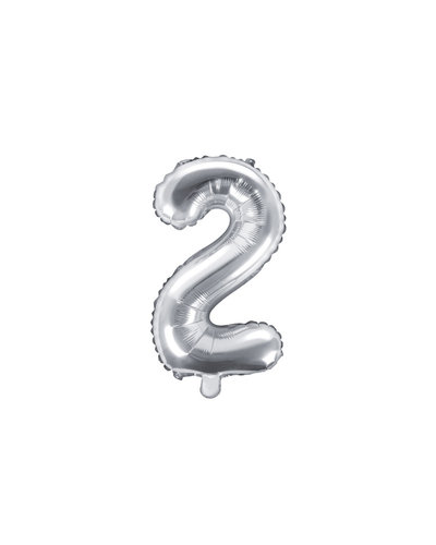 "Magicoo Folieballon Nummer ""2"" Zilver - 35 cm"