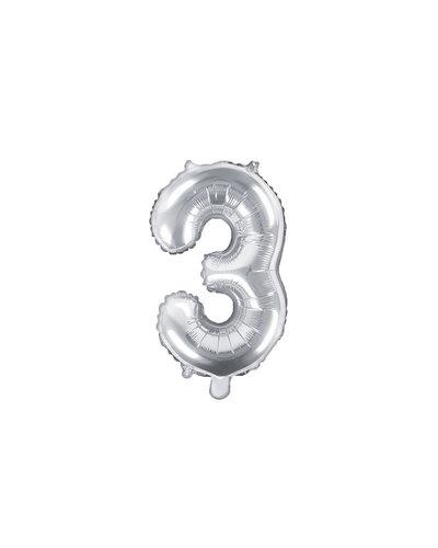 "Magicoo Folieballon Nummer ""3"" Zilver - 35 cm"
