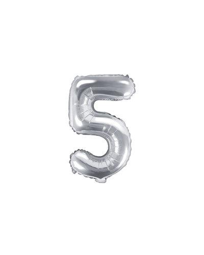 "Magicoo Folieballon Nummer ""5"" Zilver - 35 cm"
