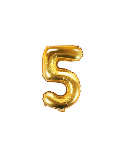 "Magicoo Folieballon Nummer ""5"" Goud - 35 cm"