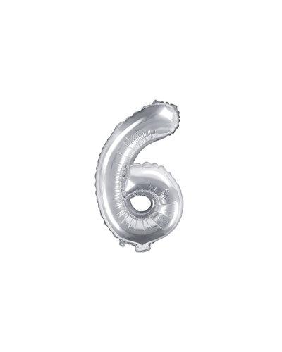 "Magicoo Folieballon Nummer ""6"" Zilver - 35 cm"