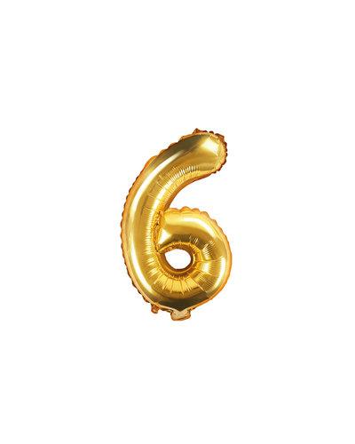 "Magicoo Folieballon Nummer ""6"" Goud - 35 cm"