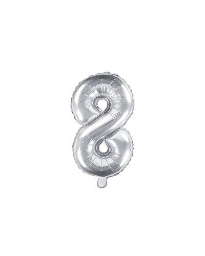 "Magicoo Folieballon Nummer ""8"" Zilver - 35 cm"