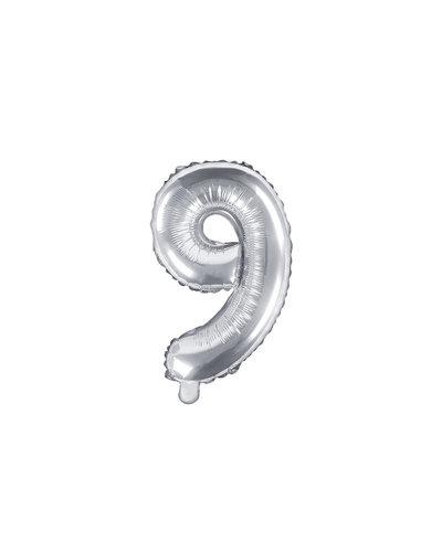 "Magicoo Folieballon Nummer ""9"" Zilver - 35 cm"
