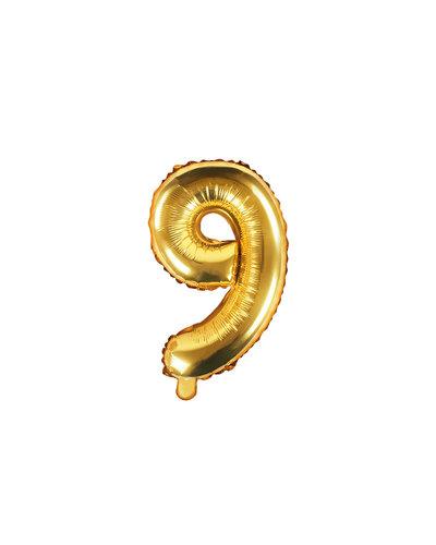 "Magicoo Folieballon Nummer ""9"" Goud - 35 cm"