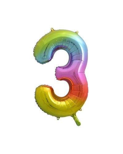"Magicoo Folieballon nummer ""3"" regenboogkleur - 85 cm"