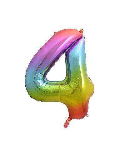 "Magicoo Folieballon nummer ""4"" regenboogkleur - 85 cm"
