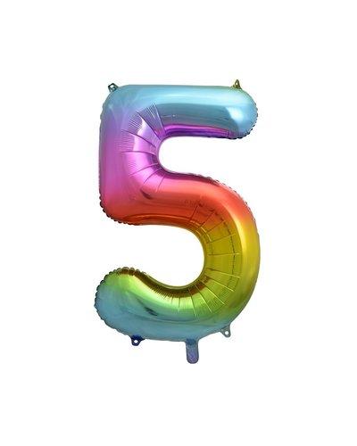 "Magicoo Folieballon nummer ""5"" regenboogkleur - 85 cm"