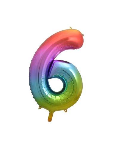 "Magicoo Folieballon nummer ""6"" regenboogkleur - 85 cm"