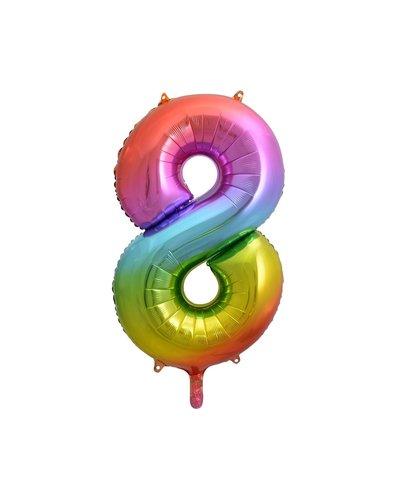 "Magicoo Folieballon nummer ""8"" regenboogkleur - 85 cm"