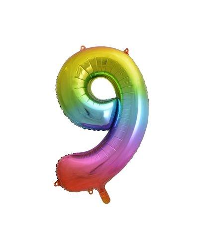 "Magicoo Folieballon nummer ""9"" regenboogkleur - 85 cm"