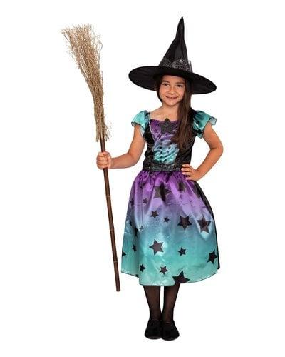 Magicoo Sterren heks  blauw-paars heksenpak kinderen