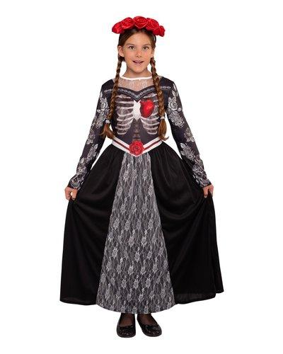Magicoo Mexicaanse skelet prinsessenjurk kinderen