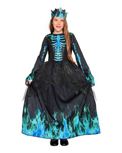 Magicoo Skelet ijskoningin jurk halloween blauw voor meisjes