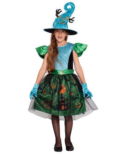 Magicoo Halloween bos heksenjurk voor meisjes groen-blauw