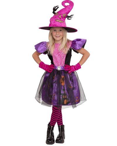 Magicoo Halloween bos heksenjurk voor meisjes roze/paars