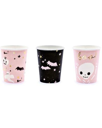 Magicoo 6 Halloween bekers roze-zwart-goud