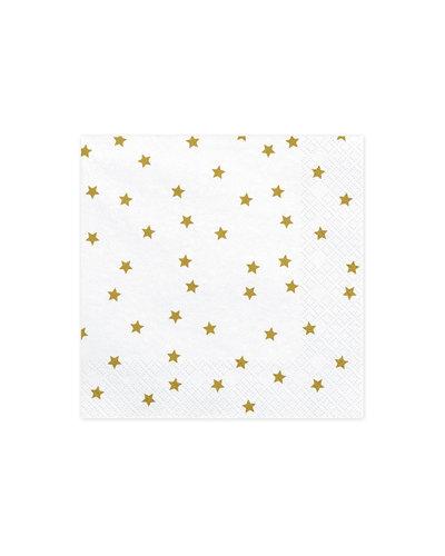 Magicoo 20 servetten wit met gouden sterren