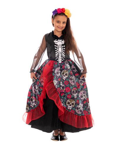 Magicoo mexicaanse skelet jurk kostuum voor meisjes