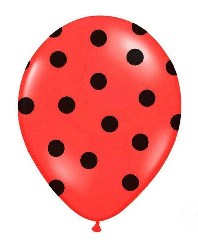 Latex ballonnen met stippen -  rood-zwart