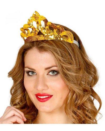 Magicoo Tiara goud met pailletten