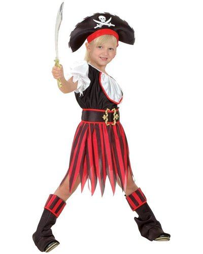 Magicoo Piratenpak meisjes rood/zwart