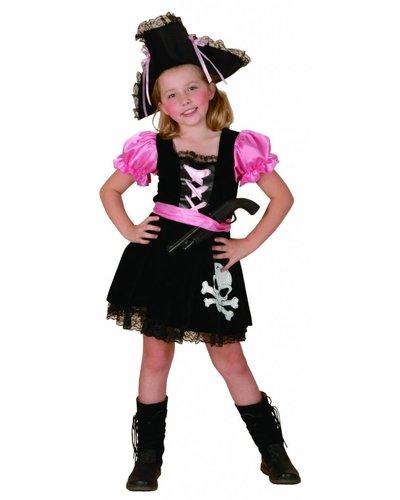 Magicoo Piratenpak meisjes roze-zwart-wit kinderen