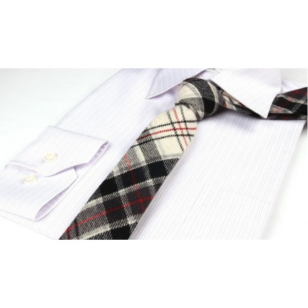 Plaid Wool Tie Wit in het