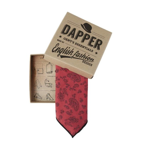 Red Paisley Pocket Square in het