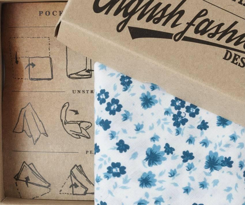Pochette Katoen blauw bloem patroon