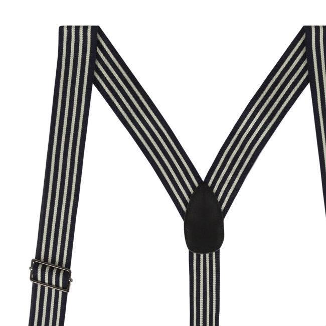 Zwarte Bretels met pinstripe en 6-clips