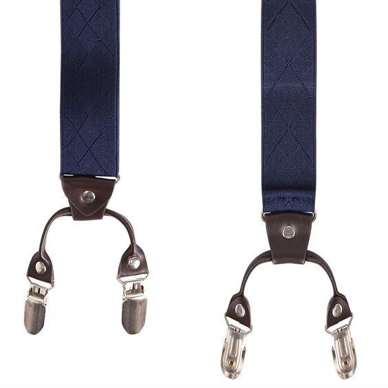 Bretels Blauw met Leer 6-clips