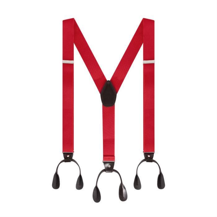 Rode Bretels met leer en knopen