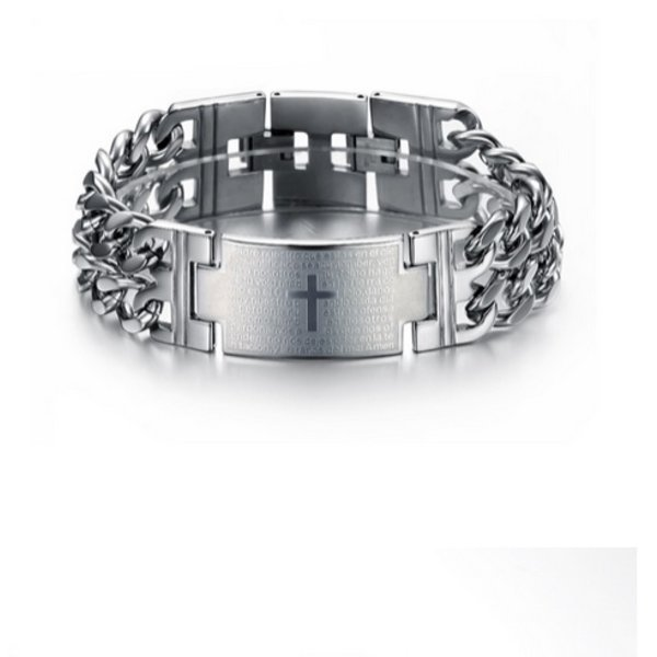 Stainless Steel Chain Link Cross Heren Arm Band in het