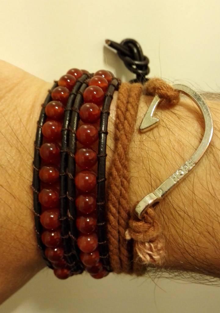 Leather bracelet red stone