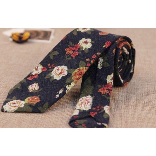 Floral Tie Navy Blue in het