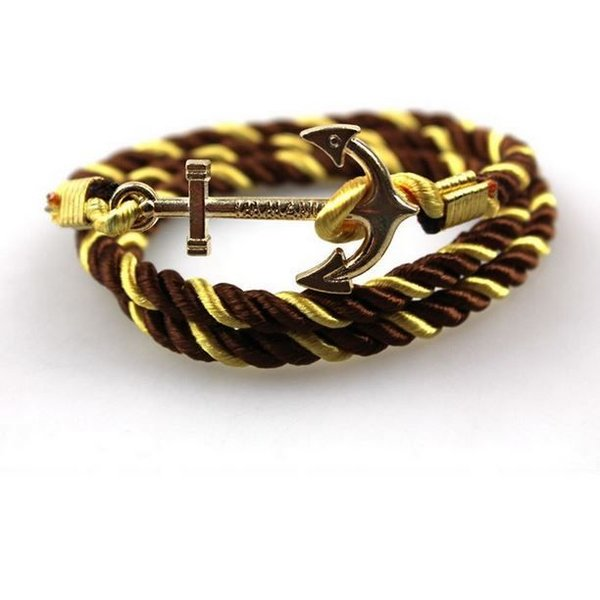 Satin Anchor Bracelet - Gold Brown in het