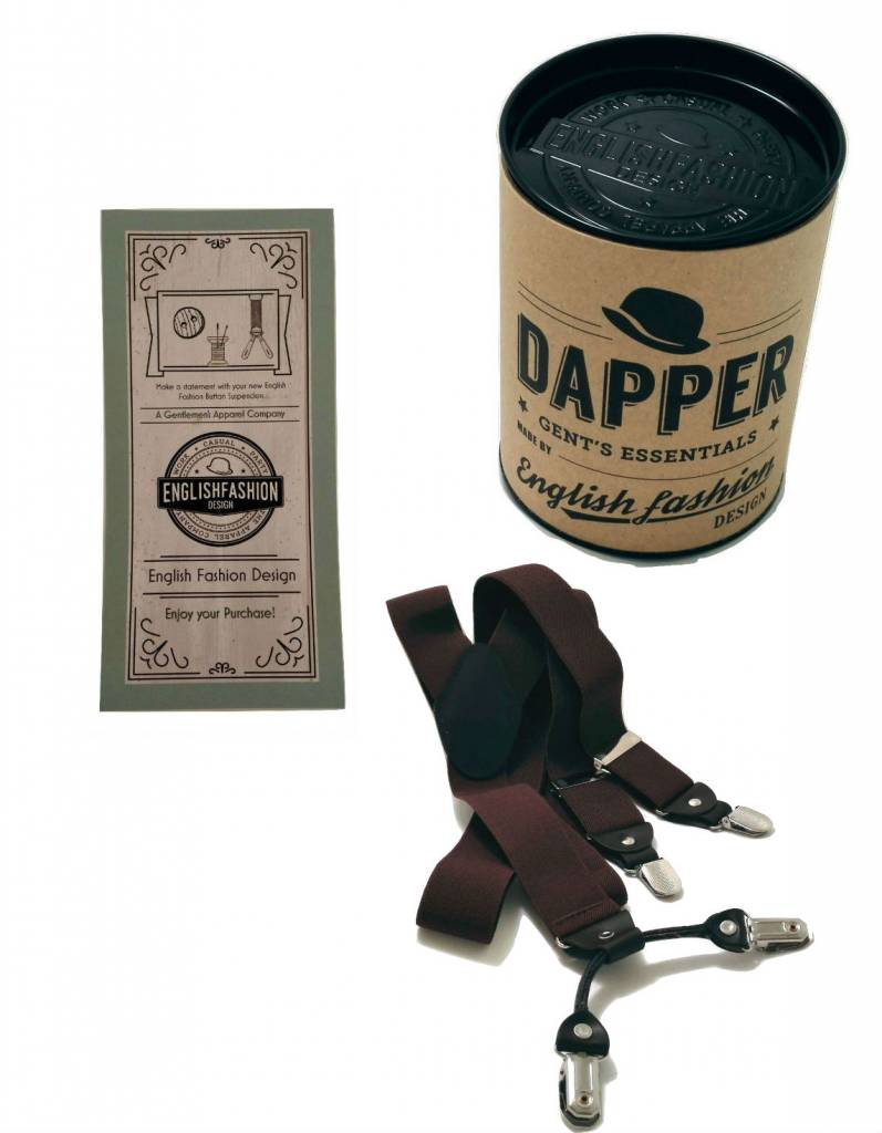Brown Suspenders with Leather