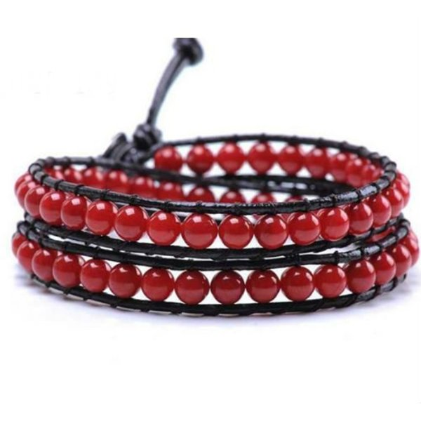 Leather bracelet red stone in het