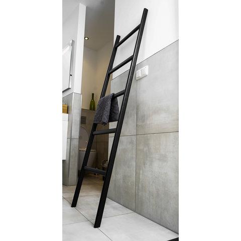 Badkamer ladder eikenhout  strak zwart